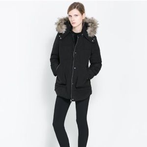 Zara Down Jacket with Detachable Hood S